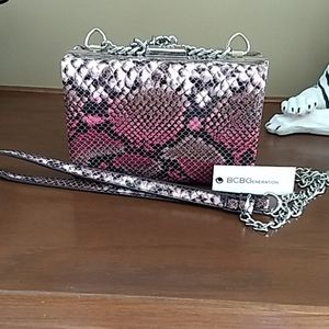👛🐍BCBGeneration Pink Snakeskin Billie Clutch
